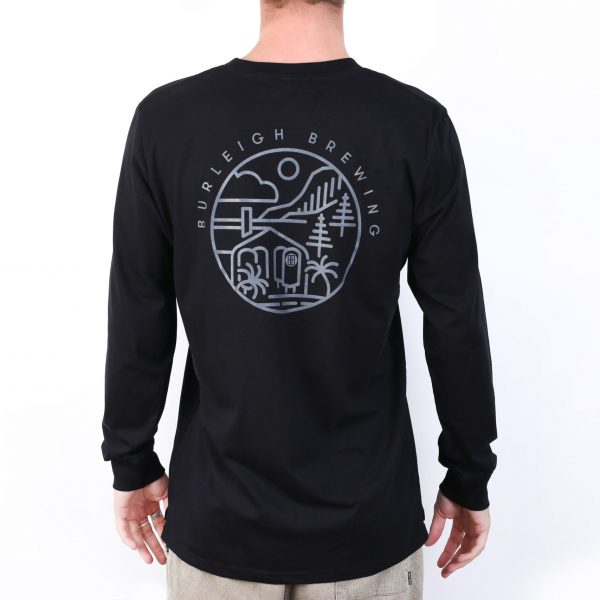 Mens Black Long Sleeve Stencil